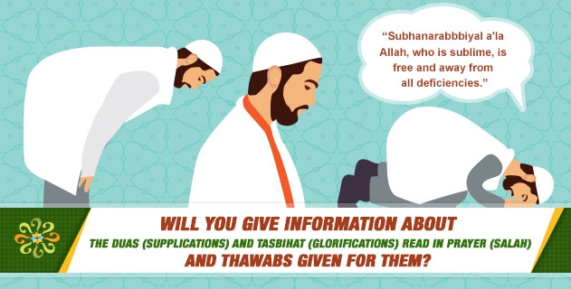 Will you give information about the duas (supplications) and tasbihat (glorifications) read in prayer (salah) and thawabs given for them?